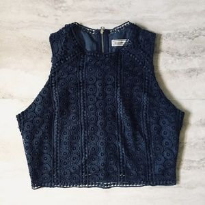 🌿Abercrombie & Fitch Navy Blue Lacey Crop Top